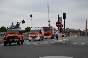 The fire brigade's mechanized equipment.
