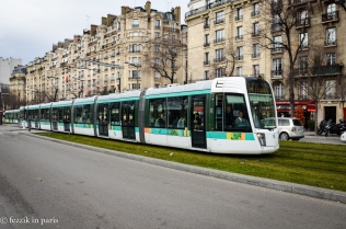 The tram outside of Porte de Versailles.