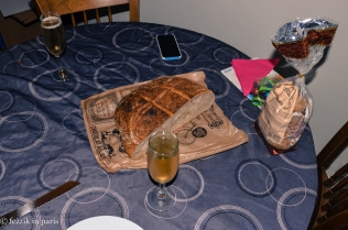The massive hunk of bread that cost us a whopping 4 EUR. Unexpected bonus: it's sourdough.
