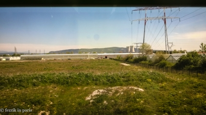 A nuclear power plant as seen from the train.
