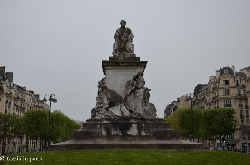 An intimidating statue of Louis Pasteur, the end piece to a long park that begins at the southern side of les Invalides