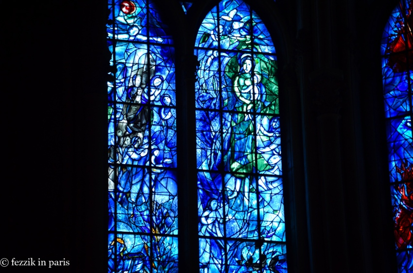 Detail of the windows created by Marc Chagall.