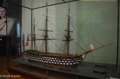 One of the many scale models of various ships of the line.