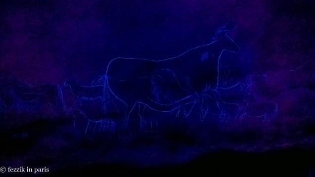 The cow queen, in blacklight.