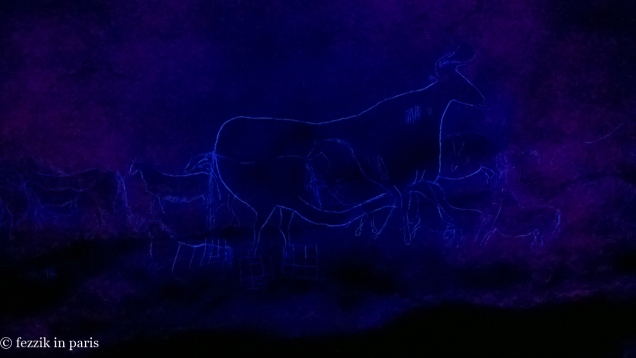 The cow queen, in blacklight.