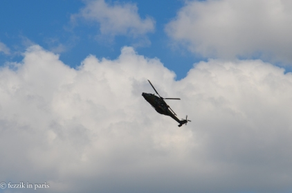 An attack helicopter in the process of busting a move.