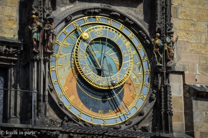 The clock face.