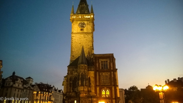 The clock tower in the early evening.