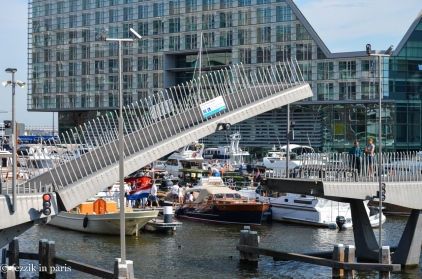 """The pedestrian drawbridge that takes us to the """"island"""" on which Bagels and Beans is located."""