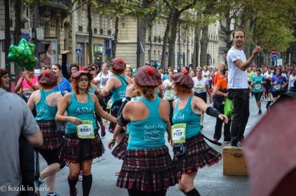 Runners dancing.