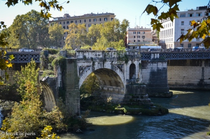 "Ponte Rotto, which is in the middle of nowhere. Fortunately, the Purrito understands that when I say ""it's an old Roman bridge"" what I'm really saying is ""I'm going to cry when we get home if I don't see it."" So, we saw it. (It's the oldest extant bridge in Rome! 2nd century BCE! Roman engineers really overdesigned everything)"