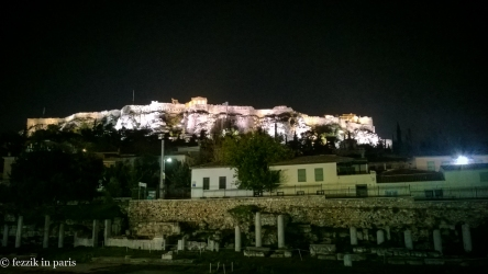 "The Acropolis, as seen from the rooftop bar of our hotel. We drank a bottle of ""monk made"" (per our waiter) Greek wine and stared."