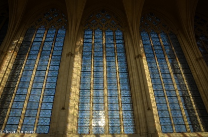 The stained glass windows of the Sainte-Chapelle as seen from the inside.