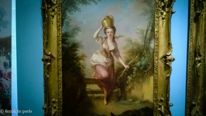 A busty milkmaid (while I assume that non-buxom milkmaids existed, I suppose the incidence of such milkmaids being painted is low) from le plaisir de la nature at musée Cognacq-Jay.