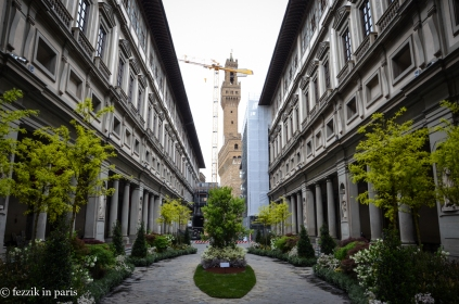 Palazzo Vecchio, as seen from the courtyard of the Uffizi Gallery.