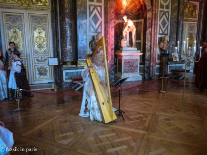 I have little doubt that there is a specialized term for a player of a harp, but I am going to use the term harpist.