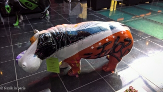 An artistic hippo seen in the lobby of the hotel.