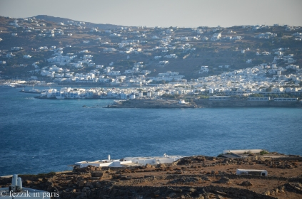 Mykonos town, Note the four lameass windmills on the hill.