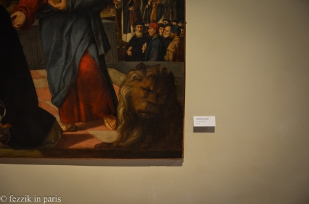This lion has the look of a cat who would rather be in a better museum.