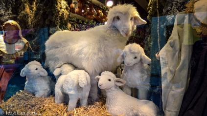 This scene was in the window of an épicerie. I could have done without the undoubtedly earnest attempt at verisimilitude in the form of the head movement of the suckling lamb, just in case anybody is noting this for next year.