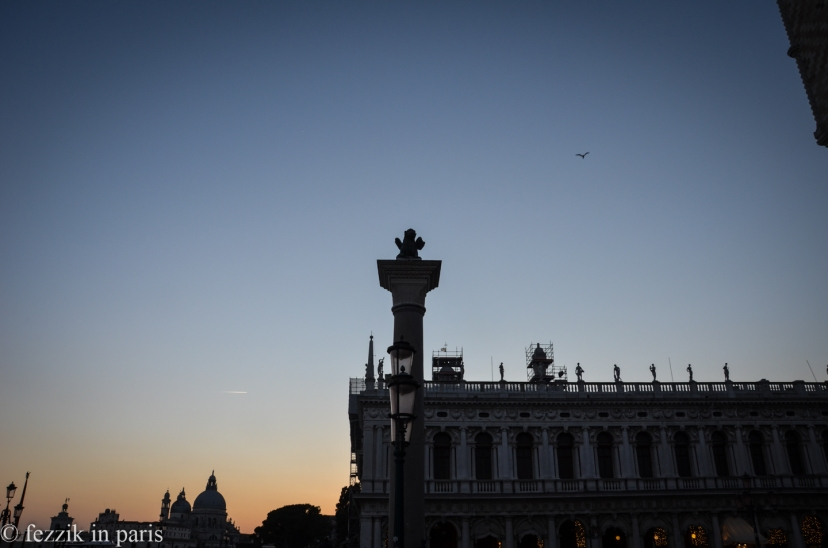 The sun sets on Saint-Mark's square.