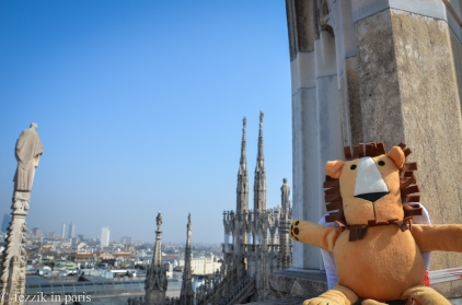 Marco at the top of the cathedral in Milan.