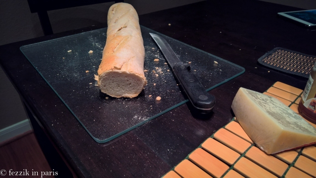 Disappointment of the trip: this baguette came from a bakery owned by two French guys. Note the entirely non-French bread texture. We suspect they were banished from France as a result of their lousy baguettes.