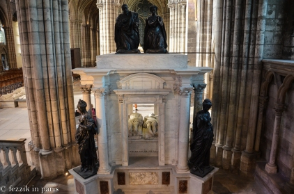 The tomb of Henri II and Catherine de Medicis as seen from the northern chapel that overlooks the transept.