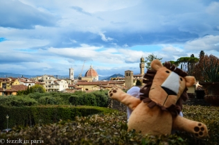 The saintly lion frolics on the grounds of the Boboli Gardens in Firenze.