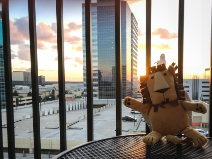 Marco enjoys a sunset in Memorial City before heading back downstairs for a boring-ass company party.
